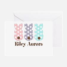 Custom Name Polka Dot Bunnies Greeting Cards