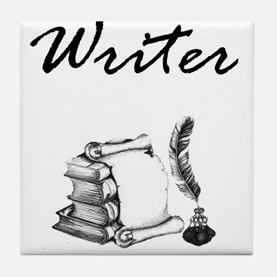 Writer Books and Quill Tile Coaster