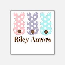 Custom name Polka dot bunnies Sticker