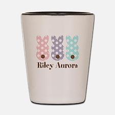 Custom name Polka dot bunnies Shot Glass