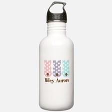 Custom name Polka dot bunnies Water Bottle