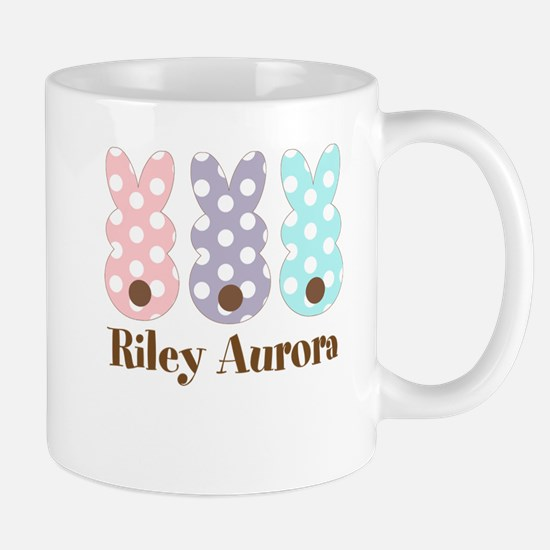 Custom name Polka dot bunnies Mugs