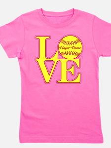 Personalized Love Softball Girl's Tee