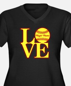 Personalized Love Softball Plus Size T-Shirt