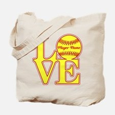 Personalized Love Softball Tote Bag