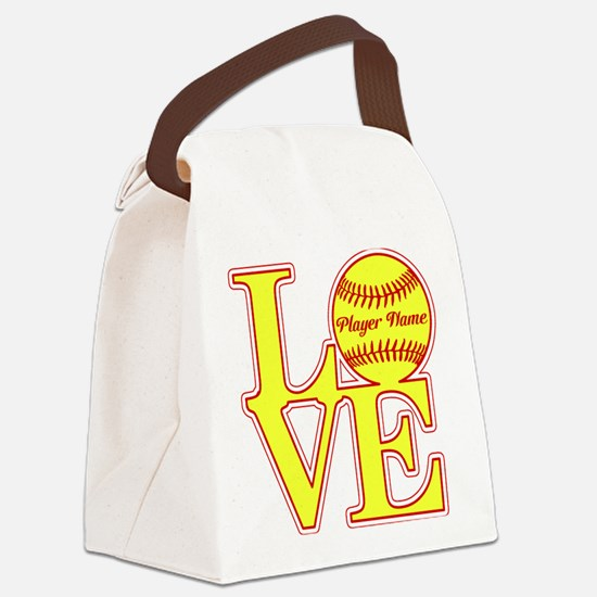 Personalized Love Softball Canvas Lunch Bag