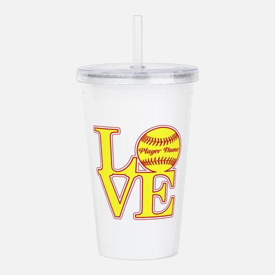 Personalized Love Softball Acrylic Double-wall Tum