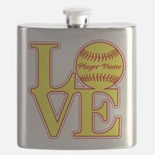 Personalized Love Softball Flask