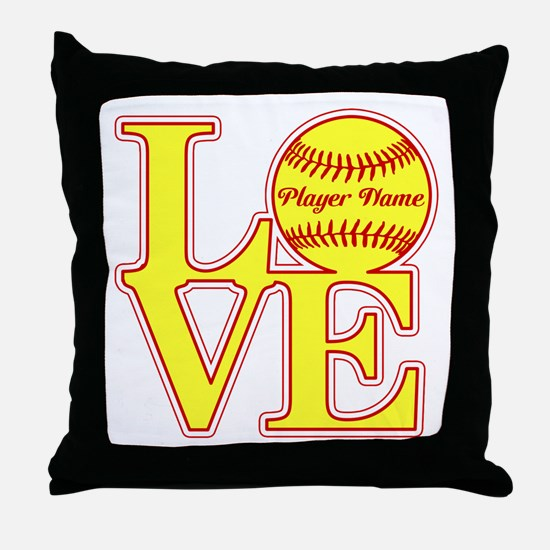 Personalized Love Softball Throw Pillow