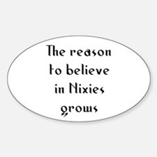The reason to believe in Nixi Oval Decal