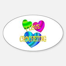 I Love Crocheting Sticker (Oval)