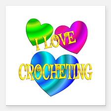 "I Love Crocheting Square Car Magnet 3"" x 3"""
