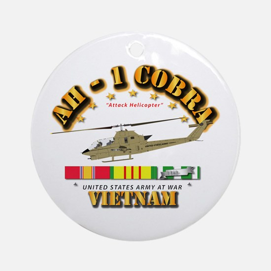 AH-1 - Cobra w VN Svc Ribbons Round Ornament