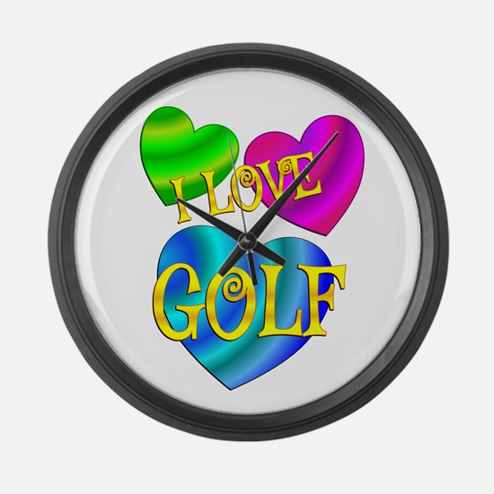 I Love Golf Large Wall Clock