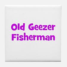 Old Geezer Fisherman Tile Coaster