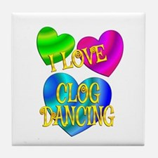I Love Clog Dancing Tile Coaster