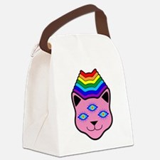 Rainbow Cat Face Canvas Lunch Bag