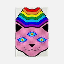 Rainbow Cat Face Rectangle Magnet