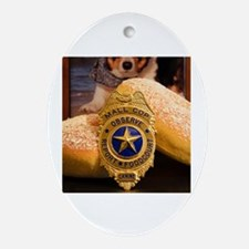 Unique Police dog badge Oval Ornament