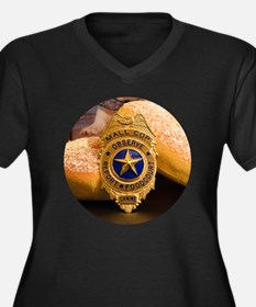 Unique Cop donut Women's Plus Size V-Neck Dark T-Shirt