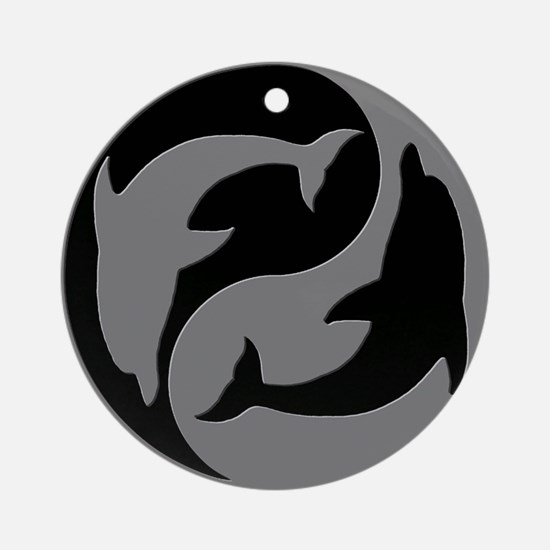 Grey And Black Yin Yang Dolphins Round Ornament