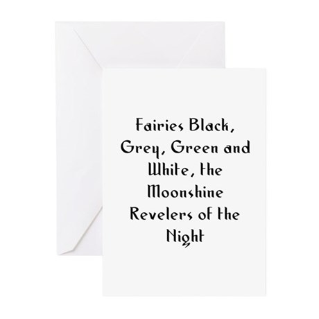 Fairies Black, Grey, Green an Greeting Cards (Pk o
