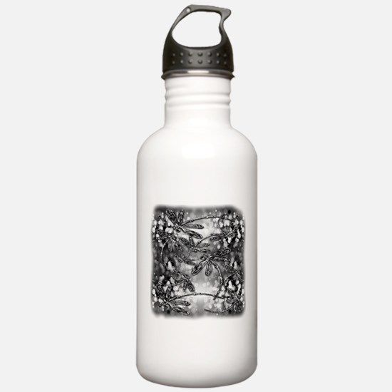 Dragonfly Bubbles Blac Sports Water Bottle
