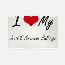 I Love My Scott'S American Bulldogs Magnets