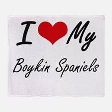 I Love My Boykin Spaniels Throw Blanket