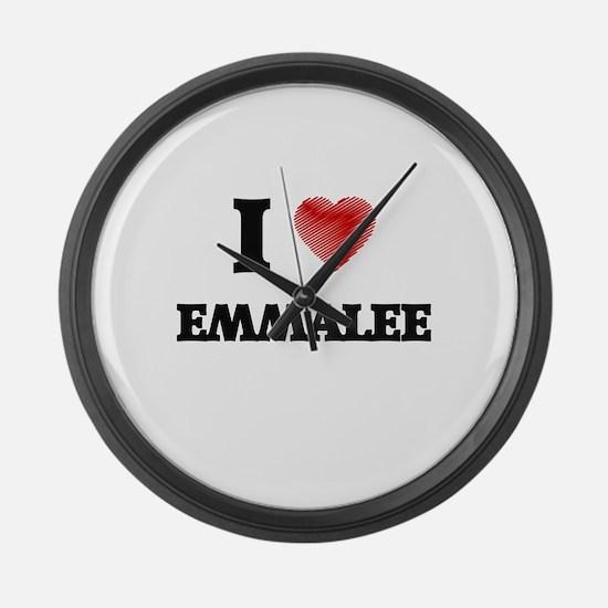 I Love Emmalee Large Wall Clock