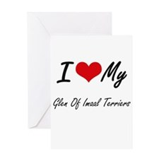 I Love My Glen Of Imaal Terriers Greeting Cards