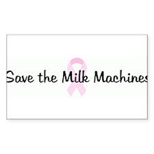 Save the Milk Machines pink r Sticker (Rectangular