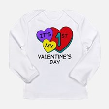 1st Valentine's Day Hea Infant Long Sleeve T-S