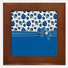 Stylish Blue Ladybugs Framed Tile