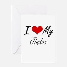 I Love My Jindos Greeting Cards