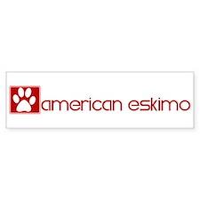 American Eskimo (dog paw red) Bumper Bumper Sticker