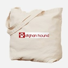 Afghan Hound (dog paw red) Tote Bag