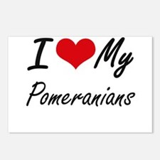 I Love My Pomeranians Postcards (Package of 8)