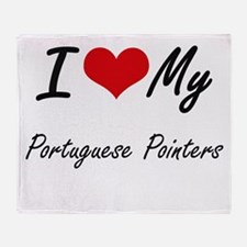 I Love My Portuguese Pointers Throw Blanket