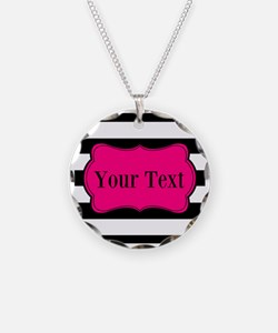 Personalizable Pink Black Striped Necklace