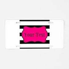 Personalizable Pink Black Striped Aluminum License