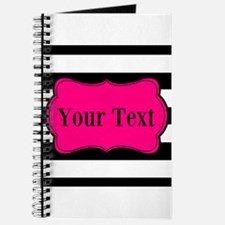 Personalizable Pink Black Striped Journal