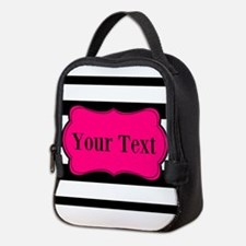 Personalizable Pink Black Striped Neoprene Lunch B