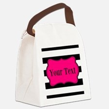 Personalizable Pink Black Striped Canvas Lunch Bag