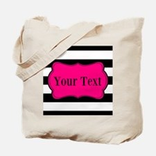 Personalizable Pink Black Striped Tote Bag