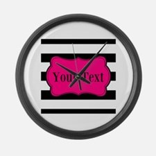 Personalizable Pink Black Striped Large Wall Clock