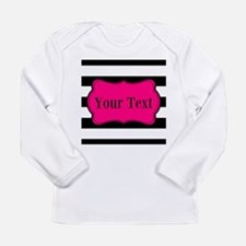 Personalizable Pink Black Striped Long Sleeve T-Sh