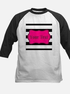 Personalizable Pink Black Striped Baseball Jersey