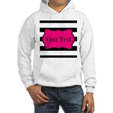 Personalizable Pink Black Striped Hoodie