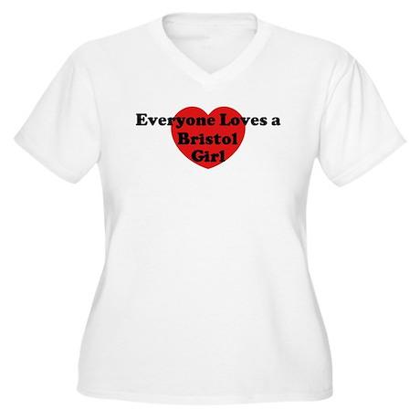 Bristol girl Women's Plus Size V-Neck T-Shirt